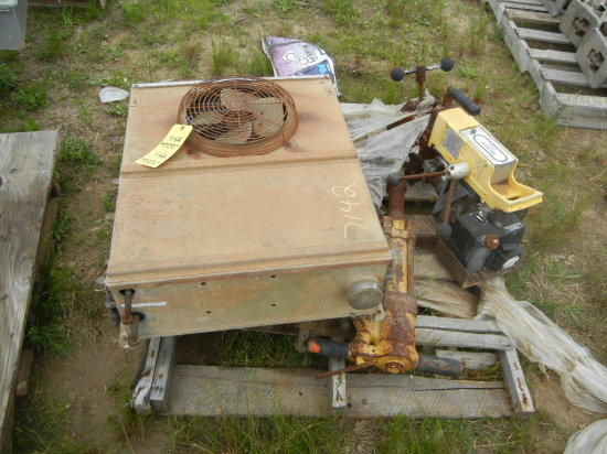 PALLET WITH HYDRAULIC RAIL SAW, DRILL,  AND SPIKE HAMMER
