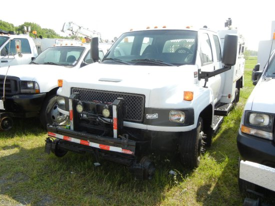 2007 GMC C5500 SERVICE TRUCK,  CREW CAB, V8 GAS ENGINE, AT, PS, AC, HYRAIL,