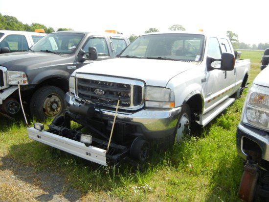 2004 FORD F-350 PICKUP TRUCK,  CREW CAB, POWERSTROKE DIESEL, AT, PS, AC, HY