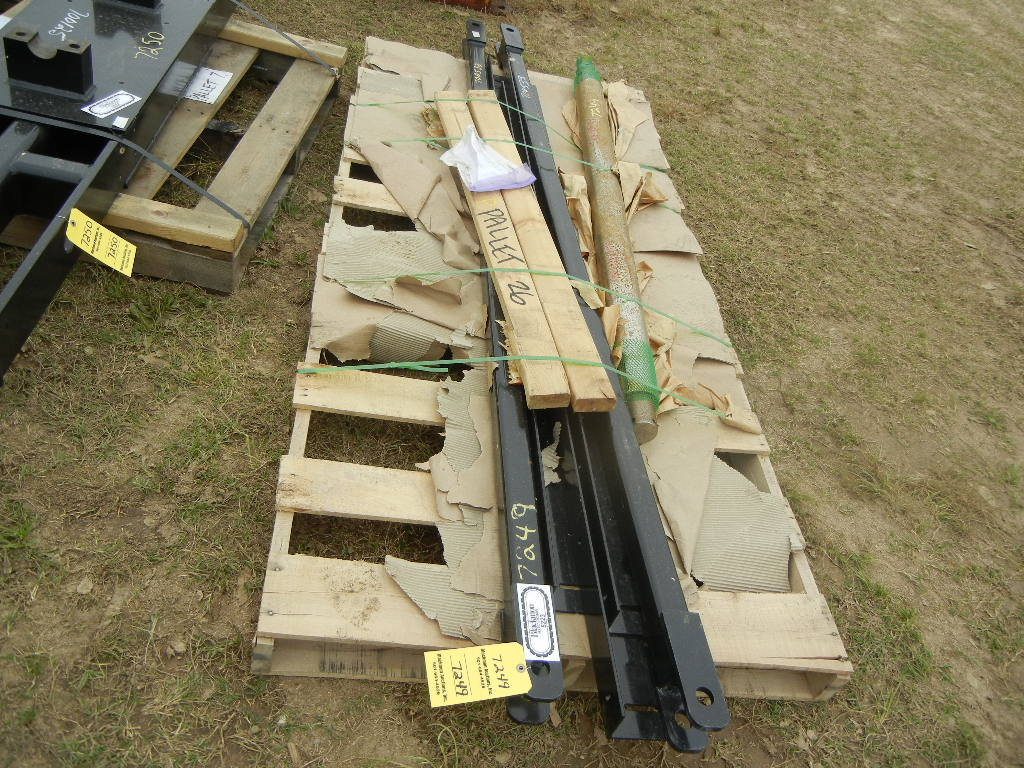 PALLET WITH (2) TOW BARS, ANGLE CAB MOUNTS  AND (1) TRIPP AXLE