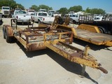 SHOPBUILT PAN EQUIPMENT TRAILER,  TANDEM AXLE, SINGLE TIRE, FOLDING RAMPS S