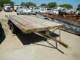 SHOPBUILT FLATBED TRAILER,  16', TANDEM AXLE, SINGLE TIRE S# N/A