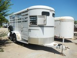 STOCK TRAILER,  METAL TOP, SWING GATE, TANDEM AXLE, SINGLE TIRE S# N/A
