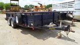 BIG TEX TAG TRAILER,  TANDEM AXLE, BALL HITCH, METAL SIDES, WOOD FLOOR, RAM