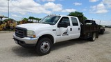 2002 FORD F450XL SUPER DUTY FLATBED TRUCK, 113,157 mi,  CREW CAB, POWER STR