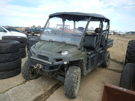 2011 POLARIS RANGER CREW SIDE BY SIDE  WINDSHIELD, TOP, RADIO, 3064 MILES S
