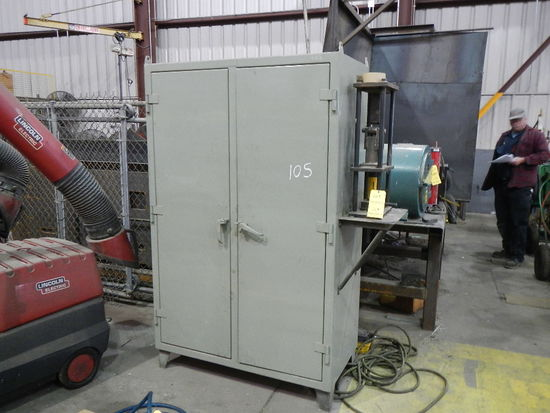 METAL CABINET WITH IRON PLATES AND  AIR OVER HYDRALIC BENDER LOAD OUT FEE: