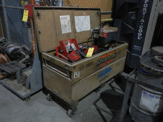 KNAACK ROLL AROUND TOOLBOX WITH  PORTA-POWER,  ATTACHMENTS AND PARTS LOAD O