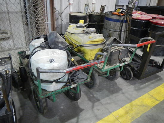 (2) SHOP CARTS WITH 25 GALLON SPRAY TANK, BATTERY, PUMP AND HOSE   LOAD OUT