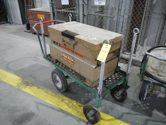 KNAACK JOB/TOOLBOX  MOUNTED ON SHOP CART LOAD OUT FEE: $5.00
