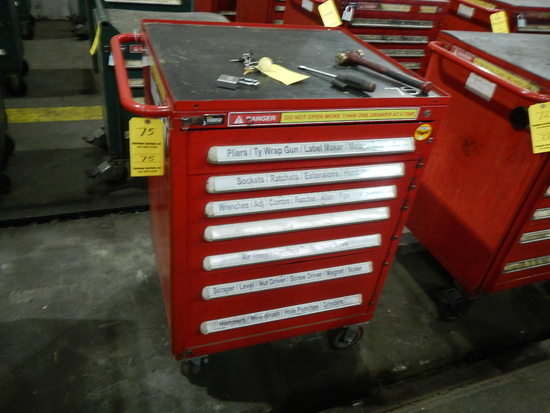 STANLEY ROLL-AROUND/LOCKING TOOLBOX WITH CONTENTS,  HAND TOOLS, SOCKETS, RA