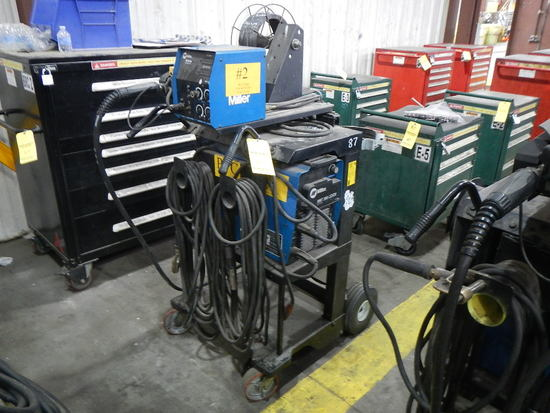 MILLER XMT-350 WELDER WITH MILLER 70 SERIES WIRE FEEDER,  MIG GUN, MOUNTED