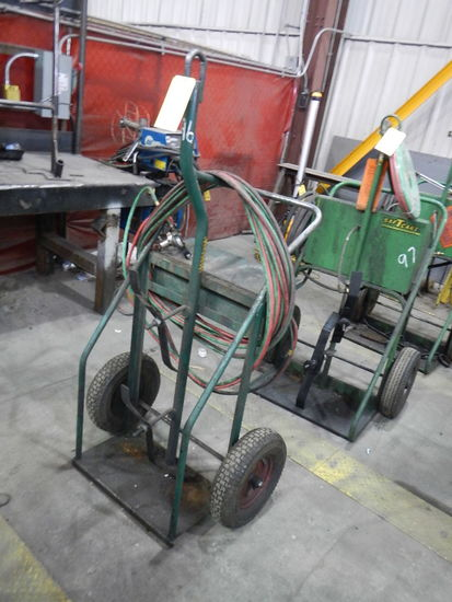 TORCH CART WITH TORCH, HOSES AND BOTTLES (NO PAPERS ON BOTTLES)   LOAD OUT