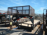 2012 APACHE 30' GOOSENECK TRAILER,  TANDEM AXLES WITH SINGLES, TOP CAGE, SI