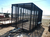 2013 PARKER 16' WIRE CAGE BUMPER PULL TRAILER,  TANDEM AXLES WITH SINGLES,