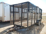 TEXAS BRAGG 16' TRASH TRAILER,  EXPANDED METAL SIDES & TOP, TANDEM AXLE S#