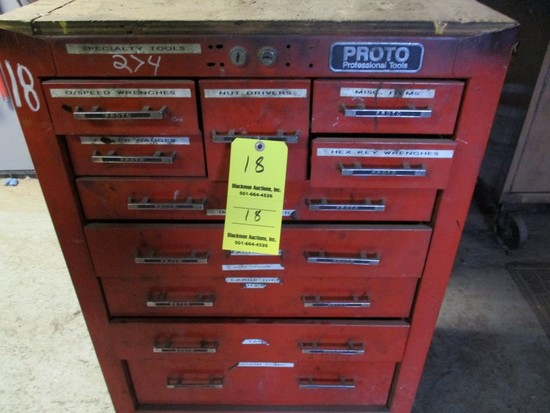 PROTO TOOLBOX  WITH HEX KEYS, TAPS & DIES, MISC ITEMS