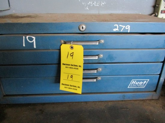 HUOT TOOLBOX  WITH TAP & DIES AND MISC ITEMS