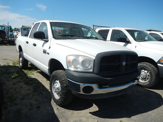 2007 DODGE RAM 2500 PICKUP TRUCK, 239K+  CREW CAB, 4X4, V8 GAS, AT, PS, AC