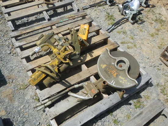 PALLET WITH STANLEY HYDRAULIC SAW, MATWELD 1500 RAIL DRILL AND FAIRMONT DYN