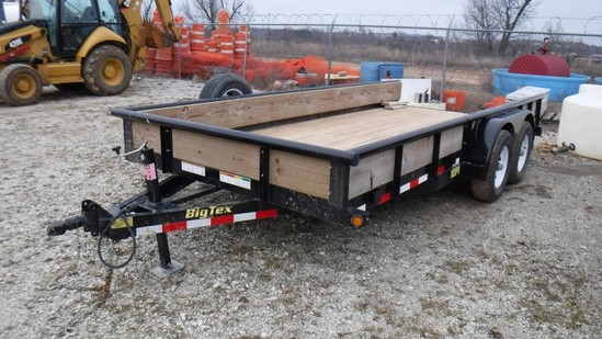 2018 BIG TEX 10PL-16BK TAG TRAILER,  (2) 5000 LB AXLES, BALL HITCH, SLIDE O
