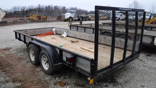 2007 TEXAS BRAGG TAG TRAILER,  TANDEM AXLE, BALL HITCH, REAR RAMP GATE S# 1