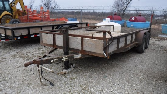 1999 PJ TAG TRAILER,  TANDEM AXLE, BALL HITCH, SLIGHT DOVETAIL S# 4P5SH1827