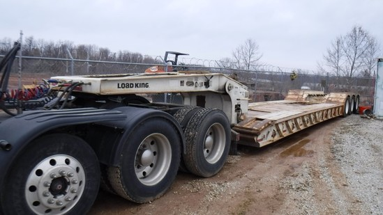 1997 LOAD KING 503 PHD LOWBOY TRAILER,  TRI-AXLE, HYD DETACH, WET LINES, NO