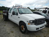 2004 FORD F350 QUAD CAB DUALLY FLATBED TRUCK,  V10 GAS, TOOLBOX, AUTOMATIC,