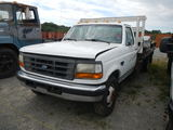 1996 FORD F350 FLATBED PICKUP TRUCK,  POWERSTROKE DIESEL, 5 SPEED, PS, AC,