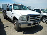 2005 FORD F350 FLATBED TRUCK, 282, 910 MI,  EXTENDED CAB, POWERSTROKE DIESE