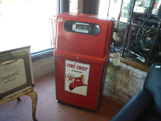 GAS PUMP AND WOODEN MARINE FUEL SIGN
