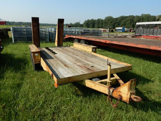 1992 BELSHE 6T-2 EQUIPMENT TRAILER,  16', PINTLE HITCH, TANDEM AXLE, SINGLE