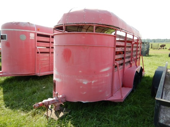 STOCK TRAILER,  15', BUMPER PULL, TANDEM AXLE S# N/A