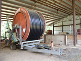 BAUER-RAINSTAR 125-400 IRRIGATION REEL,  WATER WHEEL WITH APPROX 1150' OF P