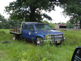 1997 CHEVROLET 3500 FLATBED PICKUP TRUCK, 94,361 MILES ON METER  CREW CAB,