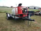 HOTSY HOT WATER PRESSURE WASHER TRAILER,  420 CC GAS ENGINE, ELECTRIC START