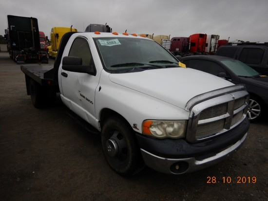 2003 DODGE RAM 3500 FLATBED TRUCK, 303,000+ mi,  CUMMINS DIESEL, 6-SPEED, P