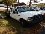2004 FORD F350XL FLATBED PICKUP TRUCK, 196k+ miles  V10 GAS, AT, PS, AC S#