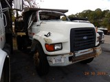 1995 FORD F800 DUMP TRUCK, 208,646 miles  (WRECKED), DIESEL ENGINE, AT, PS,