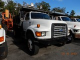1995 FORD F800 DUMP TRUCK, 134,787 miles  COMMINS DIESEL, AUTOMATIC, PS, 9'