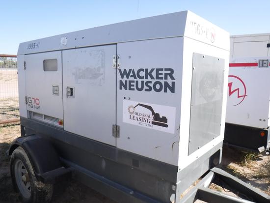 2011 WACKER NEUSON G70- GENERATOR, n/a hrs,  58-KW, JOHN DEERE DIESEL, 3-PH