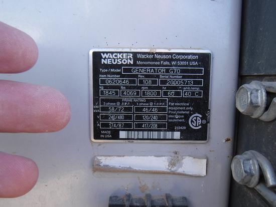 2011 WACKER NEUSON G70- GENERATOR, 1,666+ hrs,  58-KW, JOHN DEERE DIESEL, 3