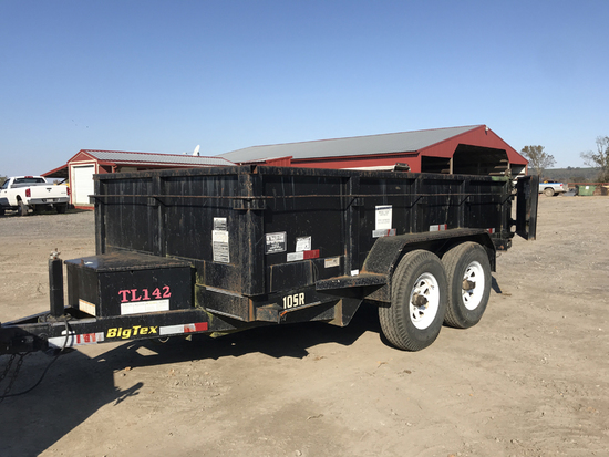 BIG TEX 10SR DUMP TRAILER,  TANDEM AXLE, SPRING RIDE, BATTERY OPERATED DUMP