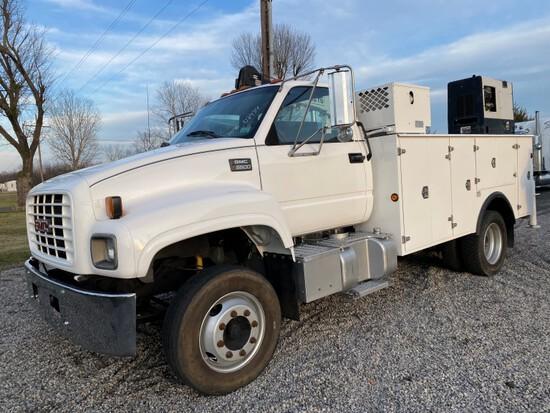 1998 GMC C6500 Crane Service Truck – CAT C7, 6sp, Single Axle Duals, Spring