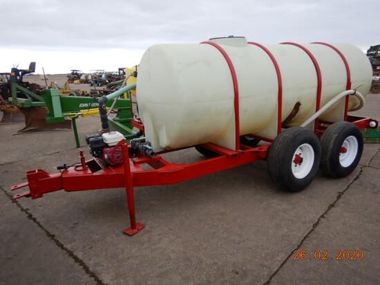 100 GAL WATER TANK,  TRAILER MOUNTER, GAS PUMP, S# N/A