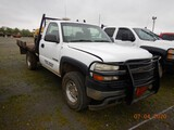 2002 CHEVROLET 2500HD FLATBED PICKUP TRUCK, 174K+ MILES  REGULAR CAB, GAS,