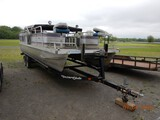 1990 LOWE 240 PONTOON BOAT,  EVINRUDE, 88 HP OUTBOARD, FOLD DOWN ROOF/SHADE