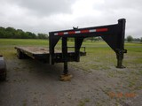 HOMEMADE GOOSENECK EQUIPMENT TRAILER,  32', TANDEM AXLE DUAL WHEEL, SLIDE-I