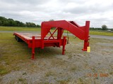 SHOPBUILT GOOSENECK EQUIPMENT TRAILER,  28' DECK, 5' DOVETAIL, TANDEM AXLE,